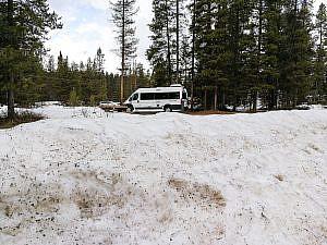 RV in de sneeuw