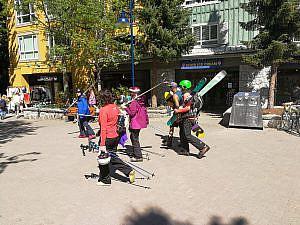 Wintersporters in het zonnetje